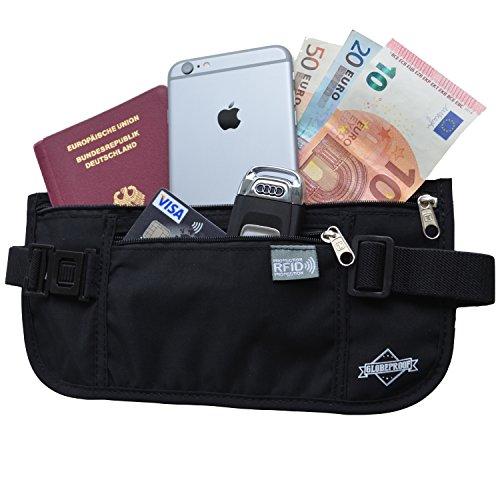 Reise-Bauchtasche flach mit RFID-Blocker für Damen & Herren - Geldgürtel ideal für den Weihnachts-Urlaub - von Globeproof (schwarz)