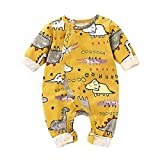 NUWFOR Newborn Infant Toddler Baby Boys Girls Cartoon Animal Romper Jumpsuit Outfits(Yellow,6-12Months