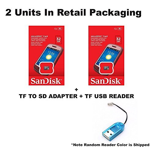 2 PACK - SanDisk 32GB MicroSDHC Memory Flash Card Class 4 Micro SD SDHC SDSDQM-032G Wholesale Lot 32GB x 2 = 64GB + BONUS TF USB Reader from SanDisk