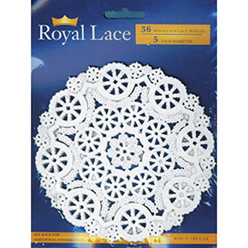 Royal Medallion Lace Round Paper Doilies, 5-Inch, Pack of 36 (B23002)