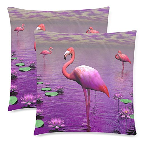 InterestPrint 2 Pack Summer Animal Pink Flamingo Cotton Pill