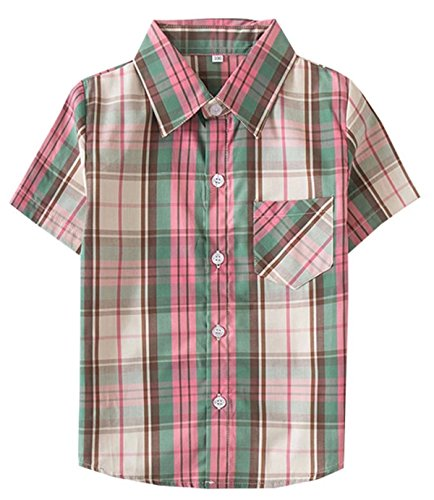 (Kids Short Sleeves Button Down Plaid Shirt Tops for Toddlers and Little Boys, Green Brown, Tag 130 for Age 5-6 Years)