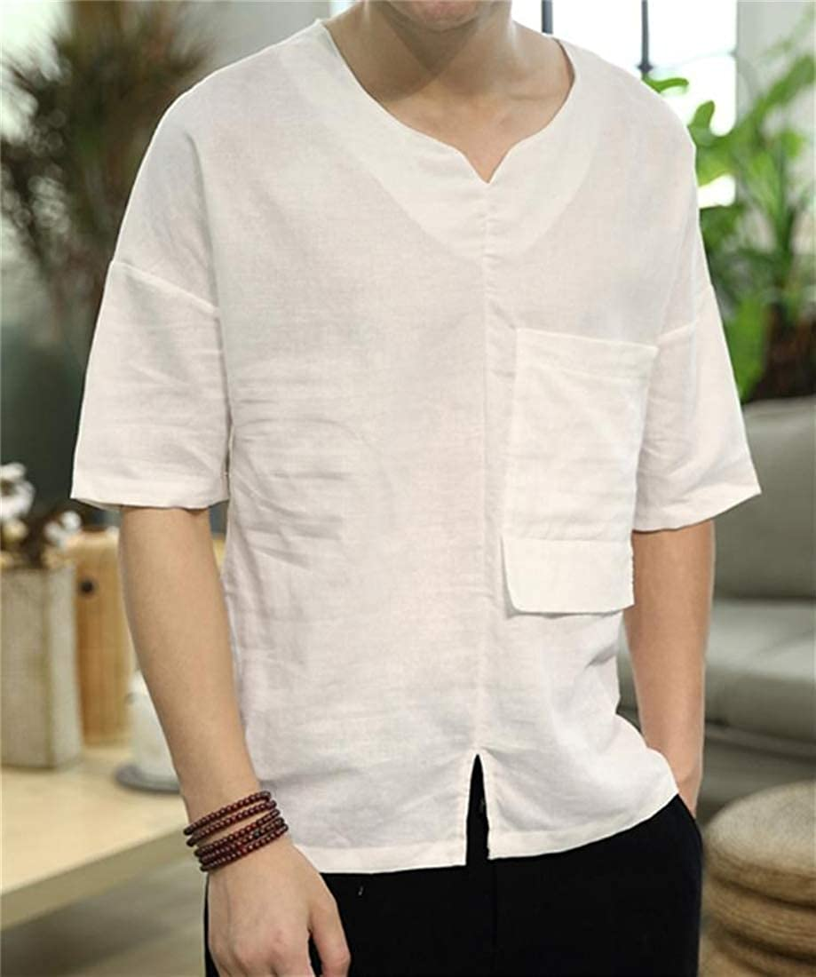 JSY Mens V-Neck Slit Short Sleeve Cotton Linen Tops T Shirts