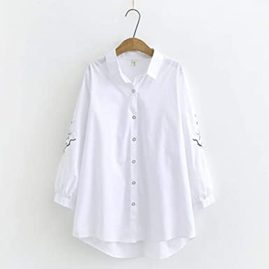 LWYLBP Manga Larga Camisa Camisa Blanca De Algodón con ...