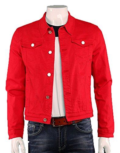 Plaid&Plain Men's Cropped Classic Denim Trucker Jacket Casual Jean Jackets Red ()