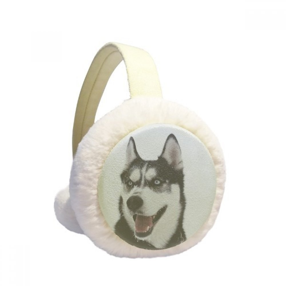 Big Dog Snow Husky Picture Winter Earmuffs Ear Warmers Faux Fur Foldable Plush Outdoor Gift