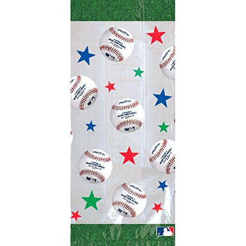 Bags Party Favor Cello (Amscan Baseball Dream Rawlings Cello Loot Bags Favour, Plastic, 11