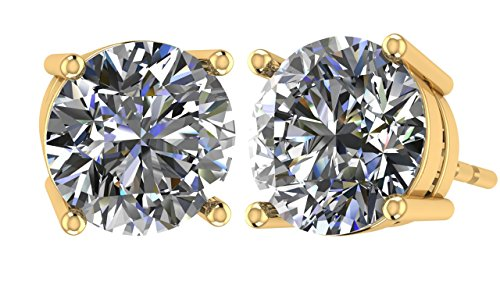 NANA 14k Gold Post & Sterling Silver 4 Prong CZ Stud Earrings -Yellow Gold Plated-7.5mm-3.00cttw ()