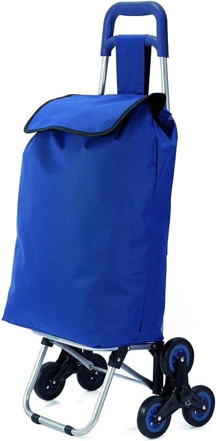 Folding Shopping Trolley Blue Black Burgundy