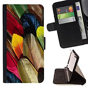 DEVIL CASE - FOR Sony Xperia m55w Z3 Compact Mini - Feathers Colorful Bird Art Wallpaper Drawing - Style PU Leather Case Wallet Flip Stand Flap Closure Cover