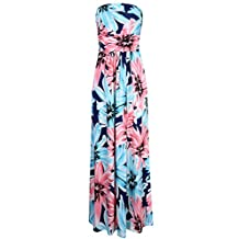 Liebeye Women Floral Sleeveless Empire Waist Strapless Beach Maxi Dress