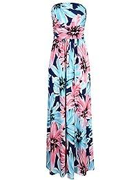 Liebeye Women Floral Sleeveless Empire Waist Strapless Beach Maxi Dress