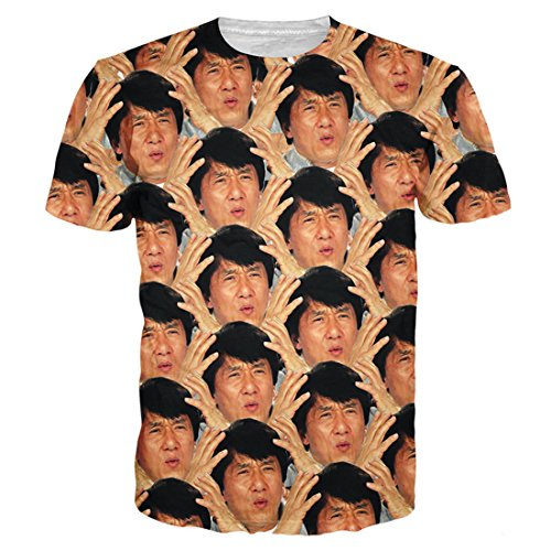 GIGA COOL Womens Mens Jackie Chan WTF All Over 3D T Shirts Graphic Tops Tee Tshirt ()