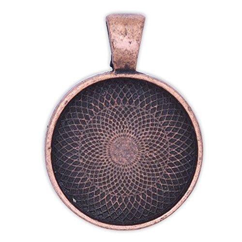 20mm Round Pendant (20PCS 20mm Round bezels pendant trays ,circle pendant trays,Photo Pendants,Antique Copper)