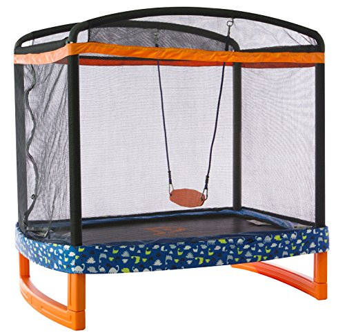 JUMP-POWER-72-x-50-Rectangle-IndoorOutdoor-Trampoline-Safety-Net-with-Swing-Combo-for-Toddlers-Kids