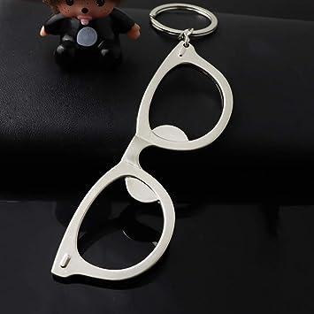 Amazon.com: Aobiny Llavero, creativo marco de metal de gafas ...