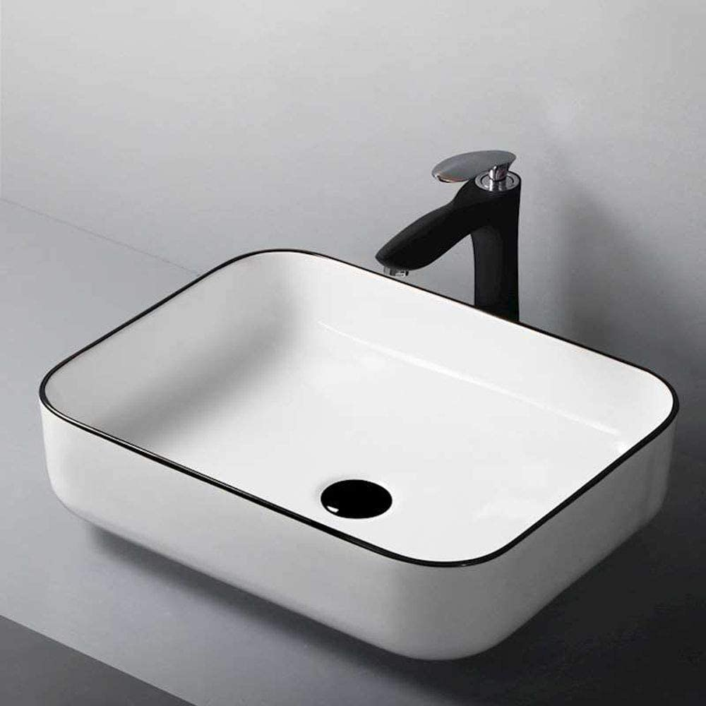 ohne Wasserhahn HomeLava Modernes Rechteck Keramik Aufsatzwaschbecken Becken Einfache Wei/ß Badezimmer Waschbecken