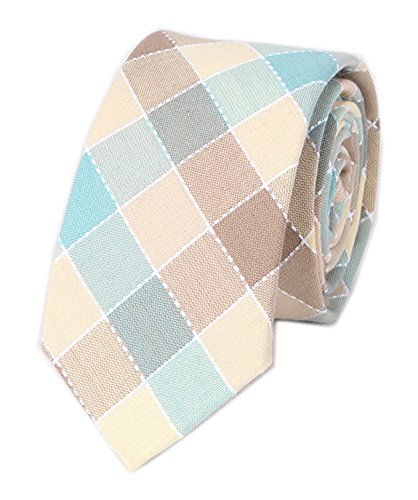 Blue Brown Plaid Self Fashion Tie 2.56