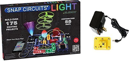 Elenco Snap Circuits Lights Deluxe Bundle with Battery Eliminator (2 -
