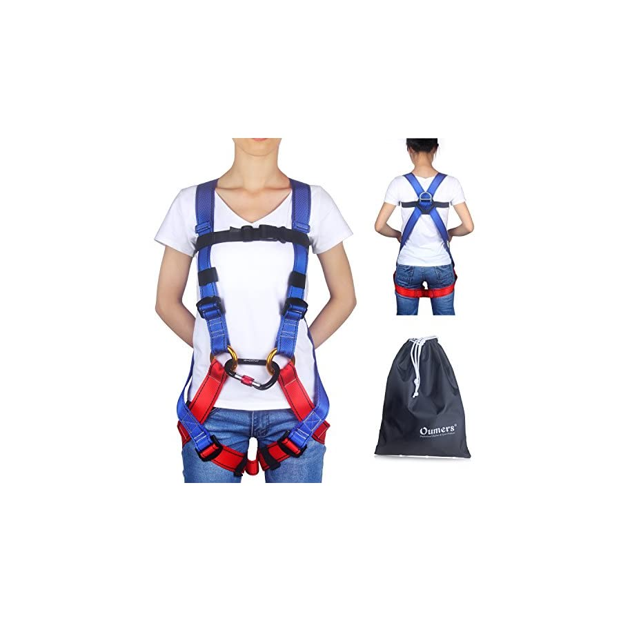 Oumers Kids' Climbing Harness, Full Body Harness, Safe Belts Guide Harness for Outward Band Expanding Training, Caving Rock Climbing Rappelling Equip Safety Comfort 3 Types(Carabiner not included)