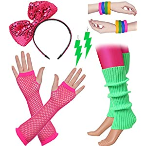 BABEYOND 80s Outfit Costume Accessories Neon Earrings Fishnet Gloves Leg Warmers Headband Bracelets