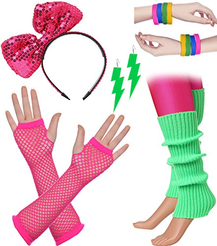 BABEYOND 80s Outfit Costume accessories Neon Earrings Fishnet Gloves Leg Warmers Headband Bracelets (Set 2)