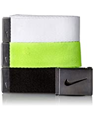 Nike Men\'s 3 Pack Web Belt, Black/White/Cyber, One Size