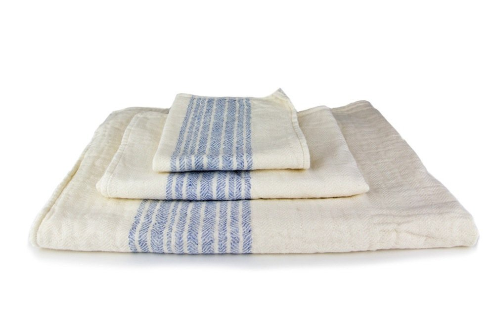 Kontex Organic Cotton Towels From Imabari, Japan - Blue (Set of 3 Towels) by IPPINKA