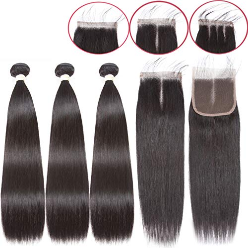 - Straight Bundles Closure Brazilian Hair Weave Bundles Closure,12 12 12+12Closure,Three Part