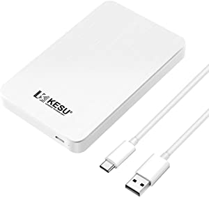 KESU Portable External Hard Drive Type C USB3.0 HDD Storage Compatible for PC, Mac, Desktop, Laptop, MacBook, Chromebook (White) (250GB)