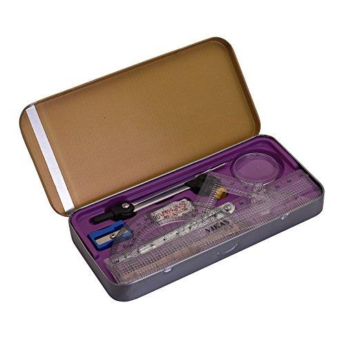 G-Compass Smiley Geometry BoxMulticolor Plastic Stationery Oraganizer Tool Kit Mathematics Drawing Instrument Set