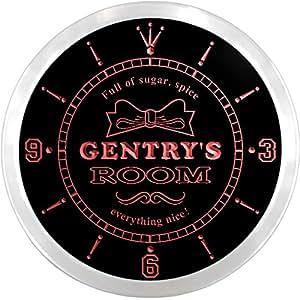ncpe1674-r Gentry's Girl Princess Kids Room Night Light Neon Sign LED Wall Clock