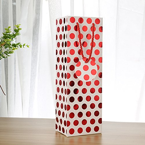 UNIQOOO 12Pcs Premium Quality Metallic Foil Gold,Silver,Red,Purple Polka Dot Wine Gift Bag Bulk, Single Wine Tote 14''x4.75''x3.5'' w/Gift Massage Tag,100% Recyclable Paper,Wine Liquor Carrier Bags Cover by NAVADEAL (Image #1)