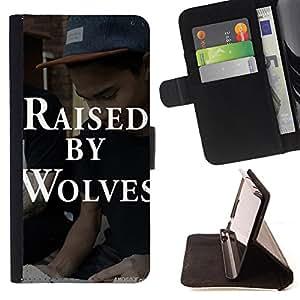 Dragon Case- Caja de la carpeta del caso en folio de cuero del tir¨®n de la cubierta protectora Shell FOR Samsung Galaxy S5 Mini SG870a, SM-G800- Raised By Wolves