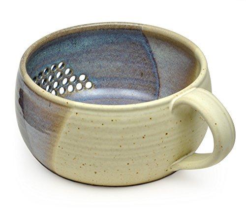- GW Pottery Handmade Stoneware Berry Bowl/Colander, Blue-White