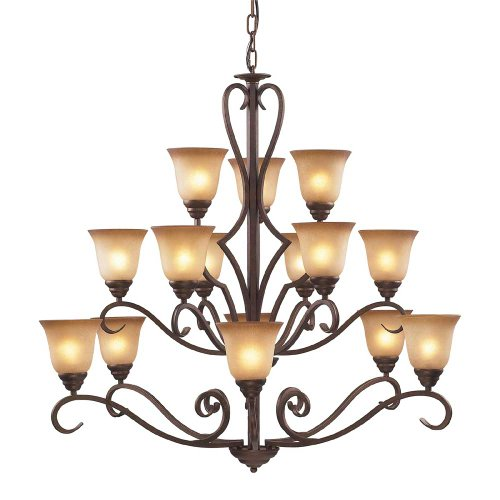 Elk Lighting 9330/6+6+3 15 Light Chandelier, Mocha/Antique Amber Glass