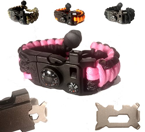 Paracord Bracelet – Survival Bracelet – Emergency Gear Men Women Kid Girl – MINI MULTI TOOL CARD – Scrapper – Whistle – Compass – Flint Fire Starter -…