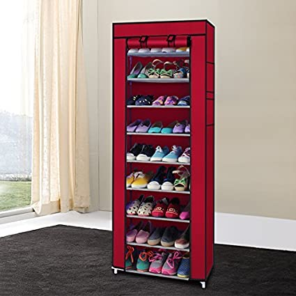 Mefeir 10 Tiers Portable Shoes Rack With Dustproof Cover Shelf Storage Closet  Organizer Cabinet Shoe Racks