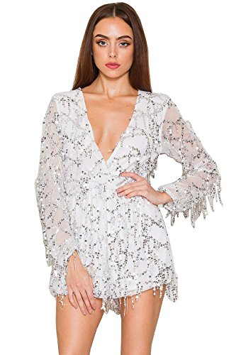 Miss ord Long Sleeve Slim Soft Lining Casual Jumpsuit Romper with Sequins White ()