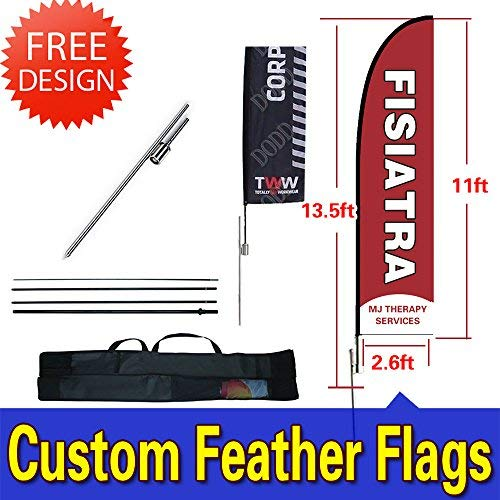xflag 13.5ft Double-Sided Custom Flags and Banners Inground Spike+Poles+Carrybag