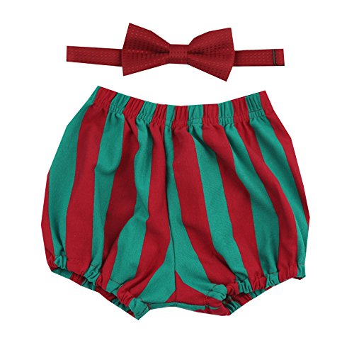 Gentlemen Ties Cake Smash Outfit Boy First Birthday Includes Bloomer Shorts and Bow Tie (Green Red Stripe Shorts and Red Bow Tie)