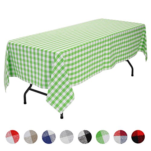 VEEYOO Rectangular Plaid Check Tablecloth Gingham 100% Cotton for Home Kitchen Party Indoor or Outdoor Use 60 x 120 inch (Seats 10 to 12 People), Lime & -