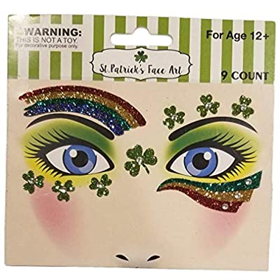 St Patrick's Day Tattoos - Temporary Glitter Face Art | Embellishments Costume for Parade Party School | 71 Separate Pieces: Beauty