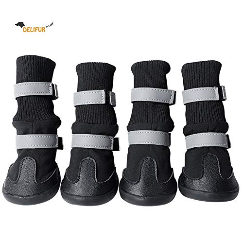 - Delifur Pet Snow Boots Waterproof Dog Shoes with Reflective Straps Resistant and Warm Shoes for Small to Large Dogs (M, Black)
