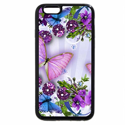 iPhone 6S / iPhone 6 Case (Black) Flowers And Butterflies