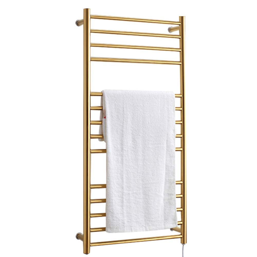 BILLY'S HOME Wall-Mounted Towel Warmer, Luxury Electric Heated Towel Drying Rack with 14 Bars, 43.3 × 20.5 × 4.9 inch, 304 Stainless Steel Gold for Bathroom,Plugin