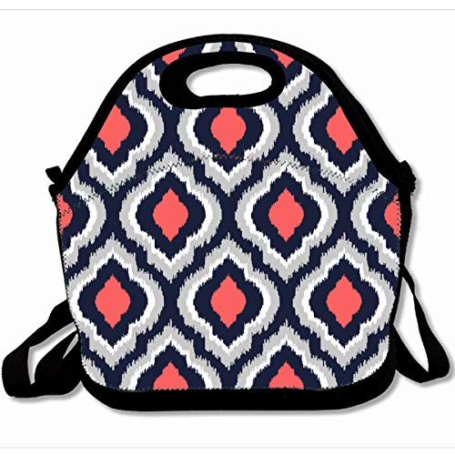 (Ahawoso Reusable Insulated Lunch Tote Bag Gray Coral Pink And Navy Blue Moroccan 10X11 Zippered Neoprene School Picnic Gourmet Lunchbox)