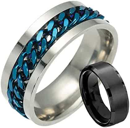 3c43d658b Hip-hop Ring Stainless Steel Grooved Chain Ring Rings for Men Ring Cool  Simple Band