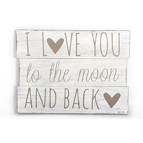 The Home Fusion Company Large Wooden 'I Love You To The Moon And Back' Slogan Wall Art Sign 48cm