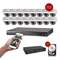 NEW! 16 Channel Hikvision USA Surveillance Kit W/16 5MP Fixed Dome IP Camera and (1) 16 port POE 2TB HDD Included. Special Package